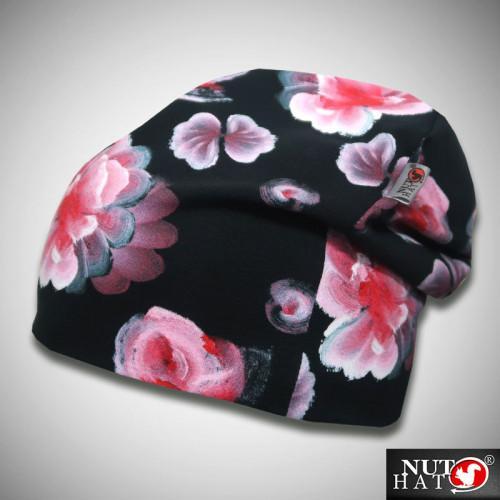 Musta trikoopipo pinkillä hallakukkakuosilla