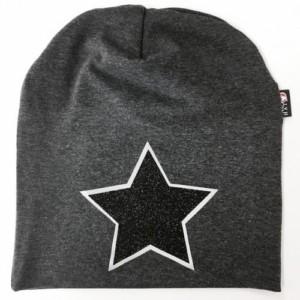 Harmaa trikoopipo mustalla glitter tähdellä