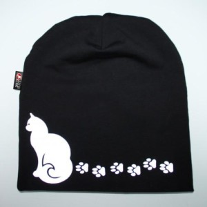 Musta trikoopipo kissa ja tassu kuvalla