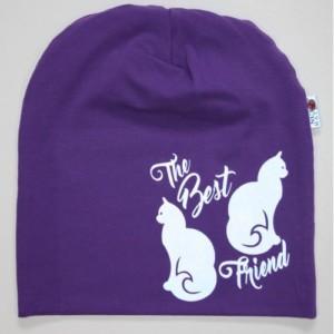 Violetti trikoopipo kissa kuviolla