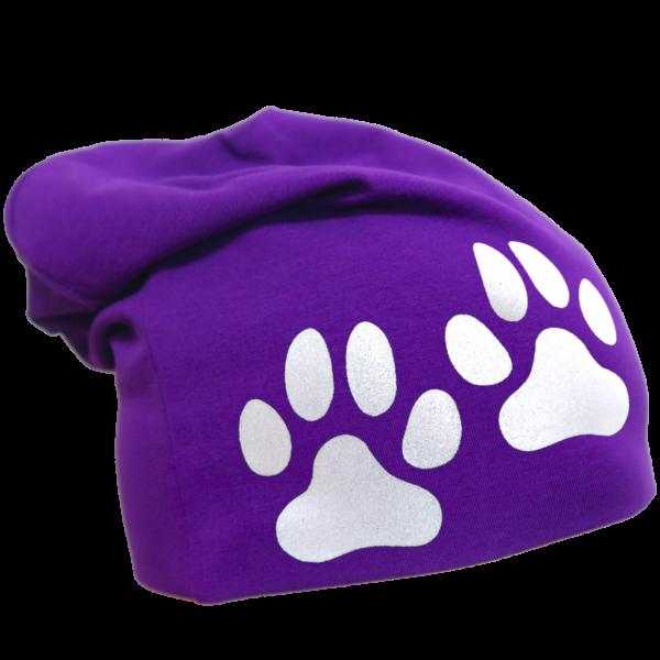 Violetti trikoopipo tassukuviolla