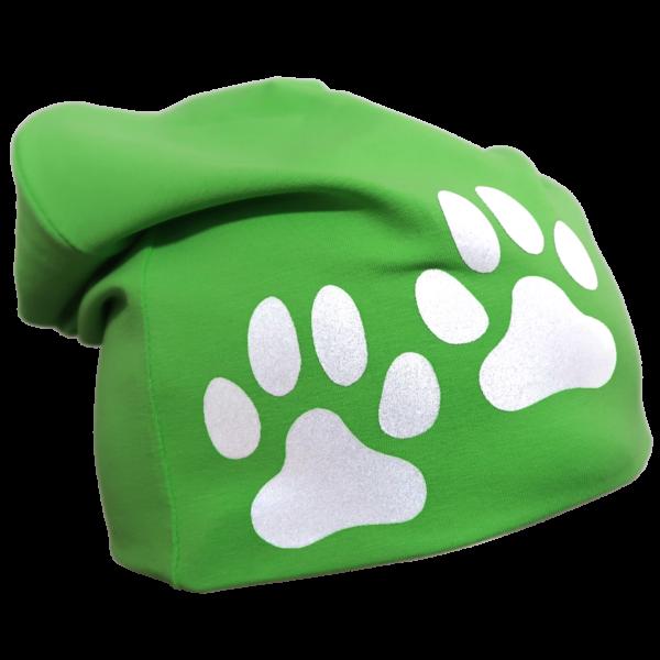 Vihreä trikoopipo tassukuviolla