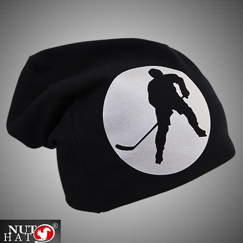 Musta trikoopipo jääkiekkoilija kuvalla