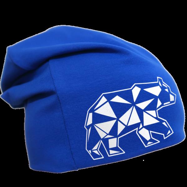 Sininen trikoopipo karhukuviolla