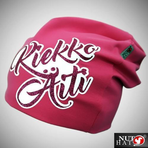 Pinkki trikoopipo glitter tekstillä