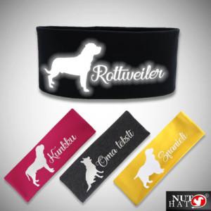 Eri värisiä trikoopantoja koiran siluetilla ja rodun nimellä