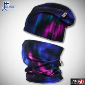 Violetti revontulikuosinen trikoopipo ja tuubihuivi