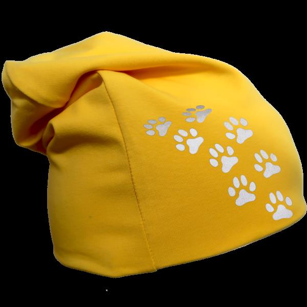 Keltainen trikoopipo pienillä tassukuvioilla