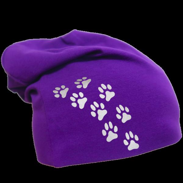 Violetti trikoopipo pienillä tassukuvioilla