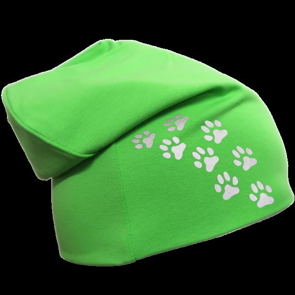 Vihreä trikoopipo pienillä tassukuvioilla
