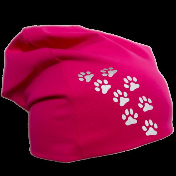 Pinkki trikoopipo pienillä tassukuvioilla