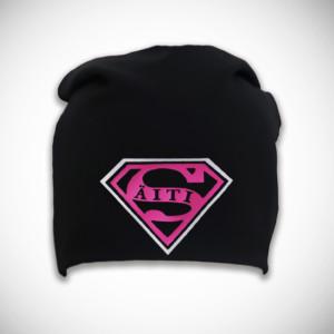 Musta trikoopipo super-äiti logolla