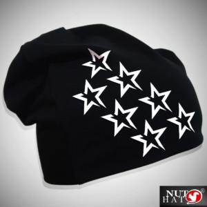 Musta trikoopipo valkoisilla tähtikuvioilla