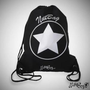 Musta jumppareppu isolla tähtikuviolla ja logolla