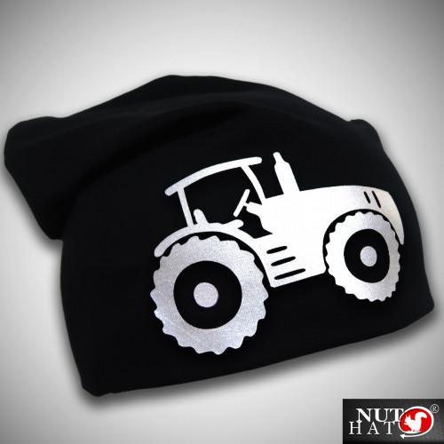 Musta trikoopipo valkoisella traktorikuviolla