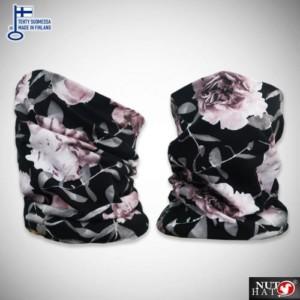 Mustat tuubihuivit ruusukuosilla