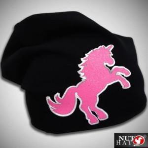 Musta trikoopipo pinkillä glitter yksisarvisella
