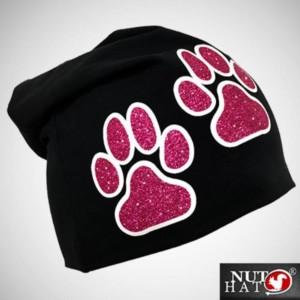 Musta trikoopipo pinkeillä glitter tassuilla