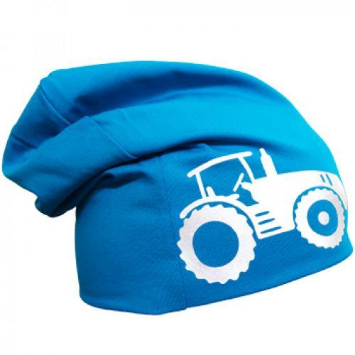 Turkoosi trikoopipo traktorikuviolla