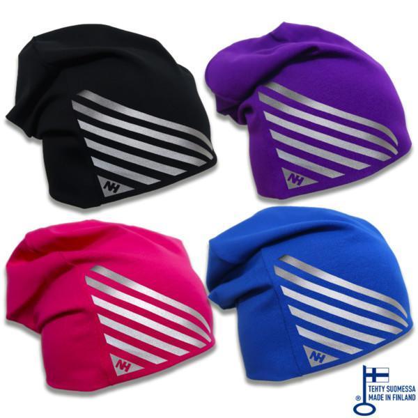 Musta, violetti, pinkki ja sininen trikoopipo hopealla viivakuviolla