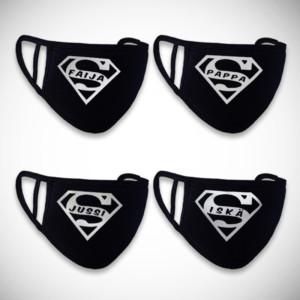 Musta kankainen kasvomaski super-logolla miehelle