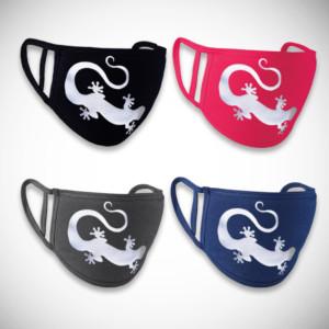 Neljä eri väristä gekkokuviollista kangasmaskia
