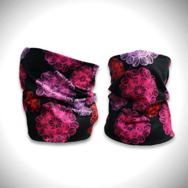 Mustat tuubihuivit pinkillä väriloiste kukkakuosilla