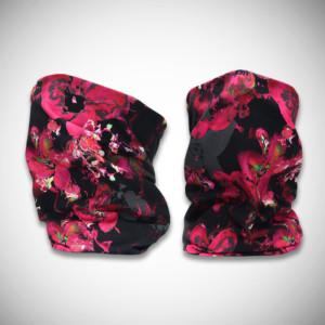 Mustat tuubihuivit pinkillä liljakuosilla