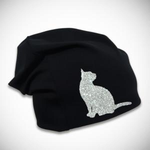 Musta trikoopipo glitter kissakuviolla