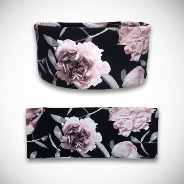 Musta trikoopanta ruusukuosilla