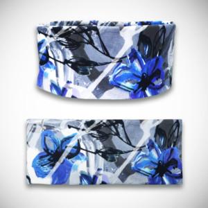 Sininen trikoopanta liljakukkakuosilla
